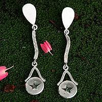 Quartz dangle earrings, 'Star of Venus' - Artisan Crafted Silver and Quartz Star Theme Earrings
