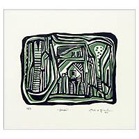 'Grajau' - Surrealism Brazilian Cityscape Woodcut Print Limited Edition
