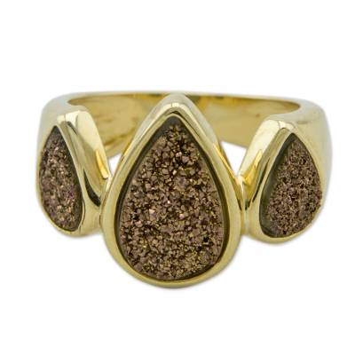 Brazilian Drusy Agate Cocktail Ring Bathed in 18k Gold