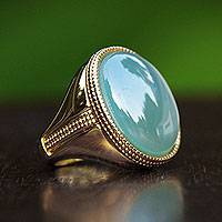 Gold plated agate cocktail ring, 'Blue Solitaire' - Fair Trade Gold Plated Brazilian Blue Agate Ring