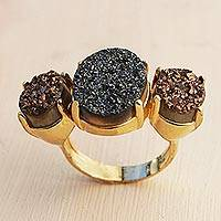 Brazilian drusy agate cocktail ring, 'Dazzling Trio' - 3 Stone Brazilian Drusy Agate Ring Bathed in 18k Gold