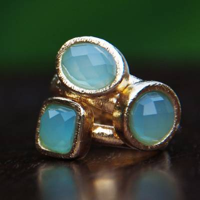 Gold plated agate stacking rings, 'Aqua Light' (set of 3) - 3 Hand Crafted Gold Plated Brazilian Aqua Agate Rings (Set)