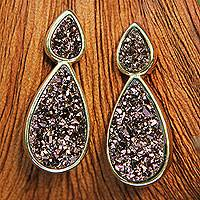 Brazilian drusy agate drop earrings, 'Sparkling Raindrops' - Brass Earrings Plated in 18k Gold with Brazilian Drusy Agate