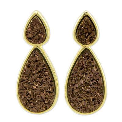 Brass Earrings Bathed in 18k Gold with Brazilian Drusy Agate