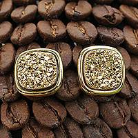 Gold plated drusy agate button earrings, 'Golden Sparkle' - Square Drusy Button Earrings Plated in 18k Gold