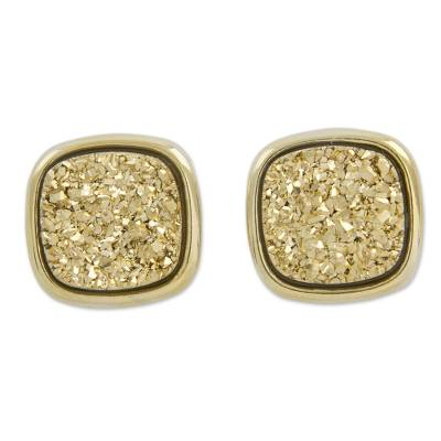 Square Drusy Button Earrings Plated in 18k Gold