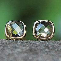 Smoky quartz button earrings, 'Brazil Mystique' - Brazilian Artisan Crafted Smoky Quartz Button Earrings