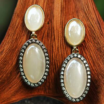 Gold accent quartz dangle earrings, 'Heavenly Grace' - Brazilian Pearly White Quartz Earrings with Cubic Zirconia
