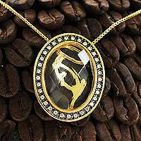 Gold plated quartz pendant necklace, 'Virgin Mary' - Gold Plated Crystal Quartz Virgin Mary Necklace with CZ