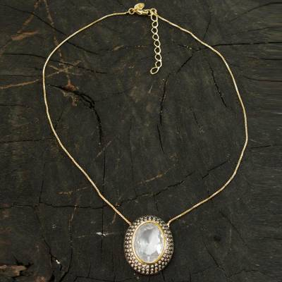 Gold plated quartz pendant necklace, 'Ipanema Mist' - Handcrafted White Quartz and CZ Gold Plated Pendant Necklace