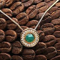 Gold plated agate pendant necklace, 'Tijuca Forest' - Brazil Handcrafted Gold Plated Green Agate Necklace with CZ