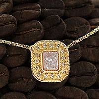 Gold plated drusy agate pendant necklace, 'Sparkling Snow' - Gold Plated Brazilian White Drusy Agate and CZ Necklace
