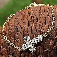 Gold plated drusy agate cross bracelet, 'A Radiant Faith' - 18k Gold Plated Brazilian Drusy Agate Cross Bracelet