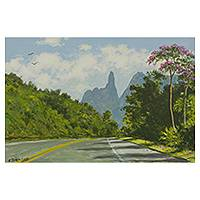'God's Finger II' - Realistic Landscape Painting from Brazil Signed Fine Arts
