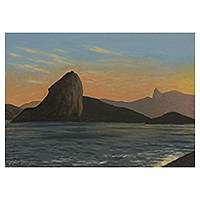 'Late Afternoon' - Rio de Janeiro Seascape Sunset Signed Painting