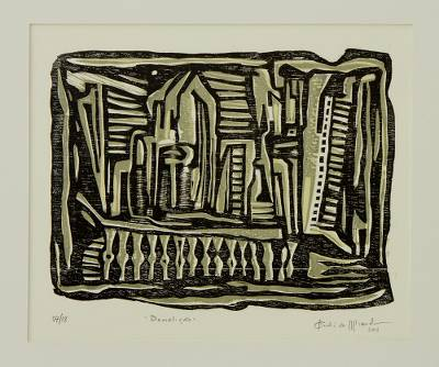 Brazil Signed Woodcut Print in Black and Ochre