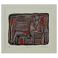 'Sunset' - Red and Black Brazil Signed Woodcut Print