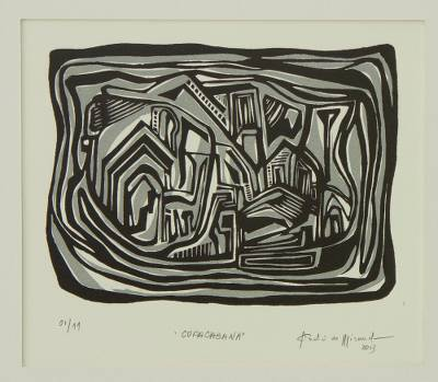 Brazilian Cityscape Woodcut Print in Black and Grey