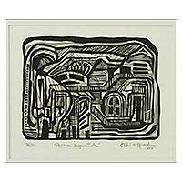 'Fragmented Landscape' - Brazil Signed Abstract Urban Scene Woodcut Print
