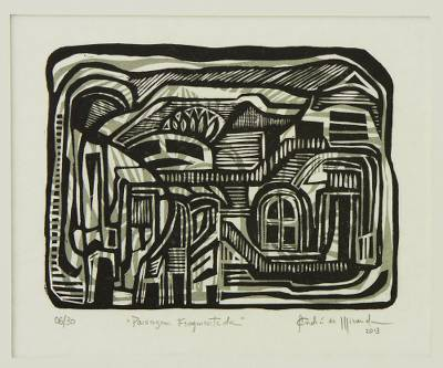 Brazil Signed Abstract Urban Scene Woodcut Print
