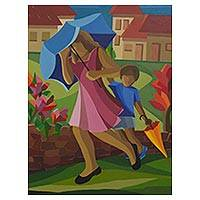 'Walking in the Rain' - Rainy Day Mother and Child Signed Cubist Style Painting
