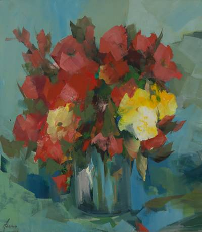 Red Flowers Painting Original Still Life Signed Fine Art