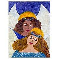 'Angels III' - Colorful Brazilian Naif Painting of Two Angels