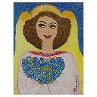 'Angel in Rose' - Original Brazil Signed Naif Portrait of an Angel