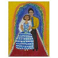 'Marriage of Peace with Ideals' - Social Justice Wedding Painting Signed Brazilian Fine Arts