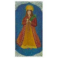 'Saint Barbara' - Patron Saint Barbara Signed Painting Brazilian Christian Art