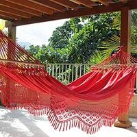 Cotton hammock with spreader bars Tropical Red single Brazil