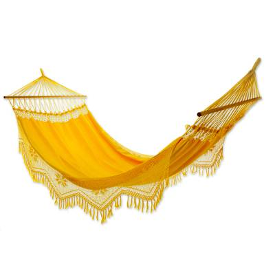 Cotton hammock with spreader bars, Tropical Yellow (single)