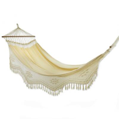 Cotton hammock with spreader bars, 'Tropical Nature' (single) - Brazilian Cotton Hammock with Crocheted Fringe (Single)