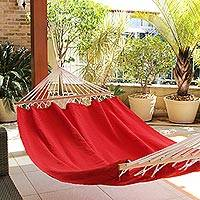 Cotton hammock with spreader bars, 'Ceara Red' (single) - Red Cotton Hammock with Spreader Bars (Single)