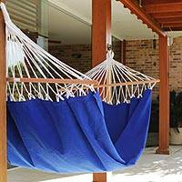 Cotton hammock with spreader bars, 'Ceara Blue' (single) - Blue Brazil Cotton Hammock with Spreader Bars (Single)