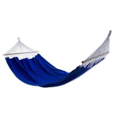Blue Brazil Cotton Hammock with Spreader Bars (Single)