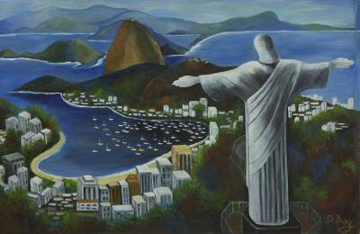 'Christ the Redeemer' - Rio de Janeiro Landscape Painting in Blue Tonalities