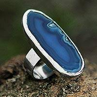 Agate cocktail ring, 'Sea Blue Mystique' - Blue Agate on Sterling Silver Cocktail Ring from Brazil