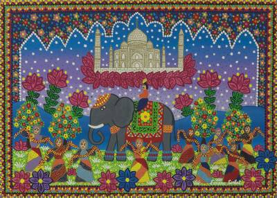 Beautiful Love Story Taj Mahal' - Brazilian Naif Painting of the Taj Mahal