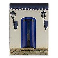 Photo collage, 'House with a Blue Door' - Brazilian Photograph Collage in White and Blue