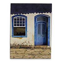Photo collage, 'House of Blue Portals' - Color Photograph Collage Mounted on Wood