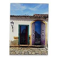 Photo collage, 'Parati House with Two Doors' - Three Dimensional Photograph Collage of Rio de Janeiro