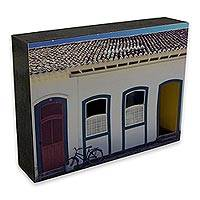 Photo collage, 'House with a Bicycle' - Bicycle Theme Color Photographs Mounted on Wood in 3-D