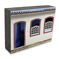 Photo collage, 'Paraty House with a Blue Door' - Brazil Colonial Home Photo Collage on Wood