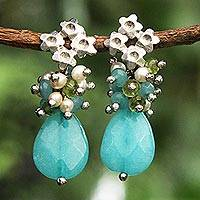 Jade and cultured pearl flower earrings, 'Flowering Blue' - Brazilian Blue Jade Flower Earrings with Peridot
