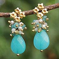 Gold plated jade and cultured pearl flower earrings,