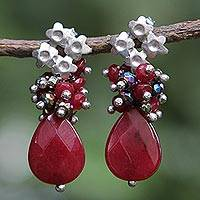 Jade and pyrite flower earrings, 'Flowering Vermilion' - Red Jade Earrings with Pyrite and Rhodium Plated Flowers