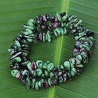Zoisite beaded bracelets, 'Amazon Forests' (set of 3) - 3 Green and Purple Zoisite Beaded Bracelets from Brazil