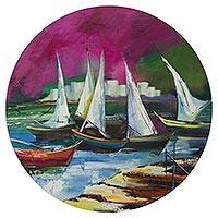'Sailboats' - Signed Stretched Round Painting of Sailboats in Rio