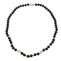 Gold accent and onyx strand necklace, 'Nocturnal Blooms' - Onyx Strand Necklace with 18k Gold Plated Flowers